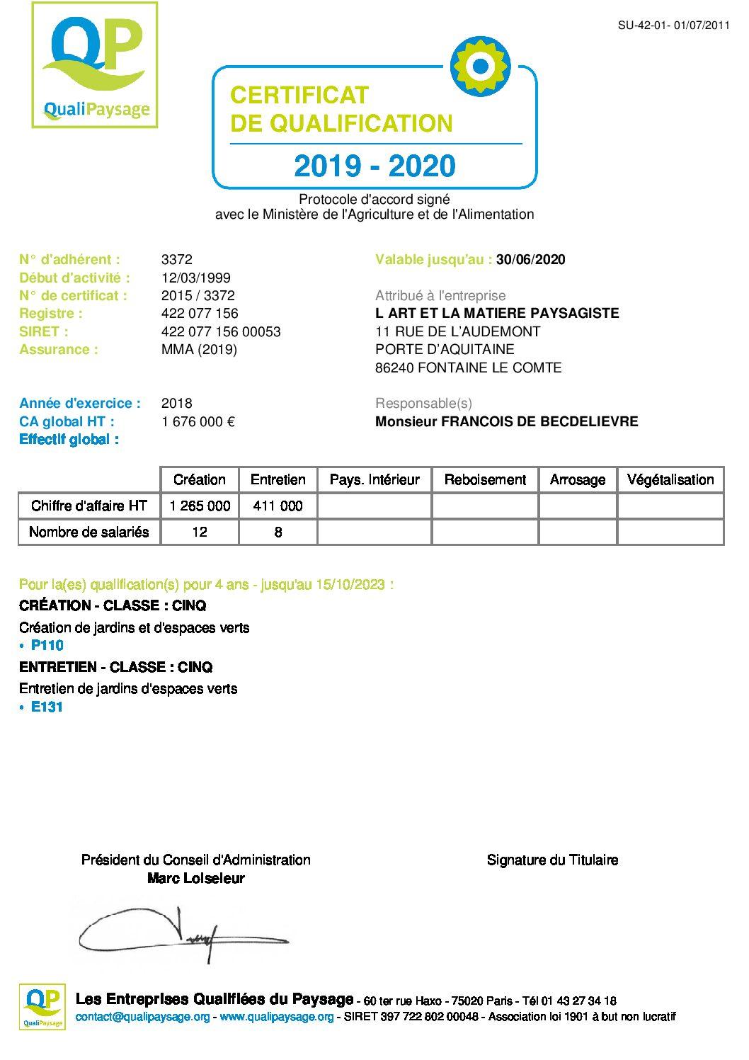 Renouvellement de notre certification QUALIPAYSAGE